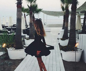 beach, beauty, and black dress image