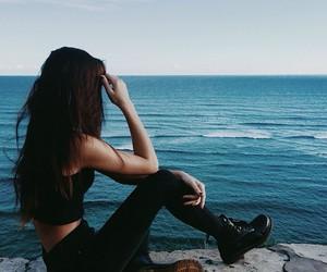 girl, black, and sea image