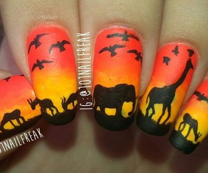 nail art, nails, and sunset image