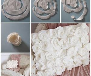 diy, pillow, and rose image