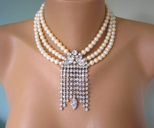 etsy, statement necklace, and crystalpearljewelry image