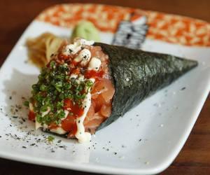 food, salmon, and sushi image