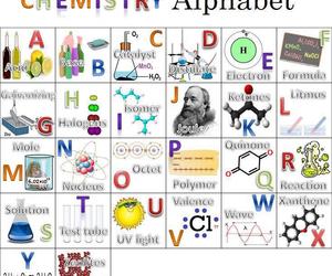 alphabet, chemist, and chemistry image