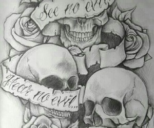 skull, tattoo, and rose image