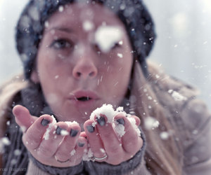 december, girl, and snow image