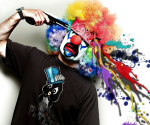 clown, gun, and colors image