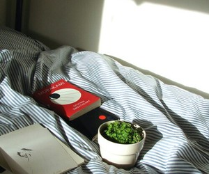 book, bed, and pale image