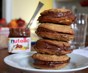 food, chocolate, and nutella image
