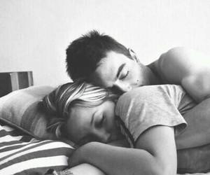 b&w, bed, and hug image