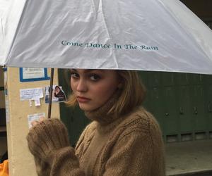 rain, lily rose depp, and umbrella image