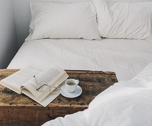 bed, book, and white image