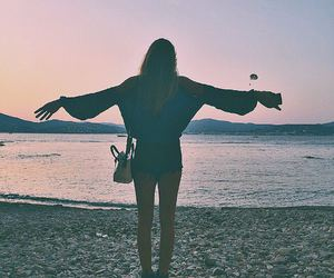 beach, girl, and places image
