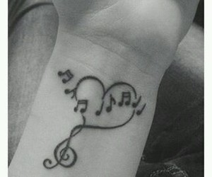 music, tattoo, and love image