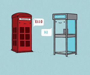 hi, telephone, and blue image