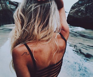 beach, hairstyle, and summertime image
