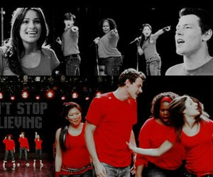 glee, don't stop believing, and finn hudson image