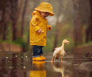 duck, kids, and rain image