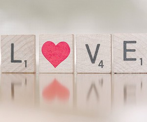 love, heart, and scrabble image