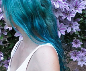 blue hair, flowers, and girl image