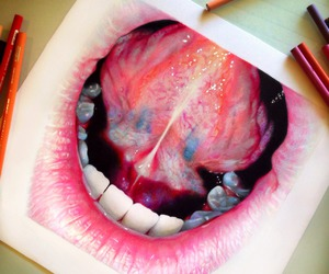 art, mouth, and drawing image