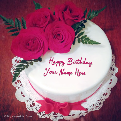 Incredible Write Your Name On Lovely Roses Birthday Cake Picture Funny Birthday Cards Online Bapapcheapnameinfo