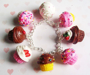 cupcake, bracelet, and charms image