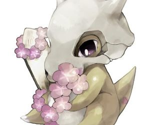 pokemon, cubone, and flowers image