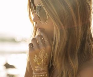 girl, gold, and sunglasses image