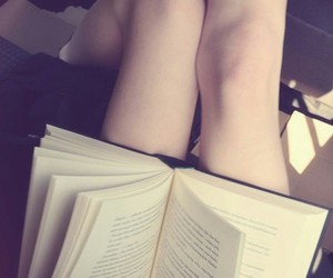 book, woman, and knees image