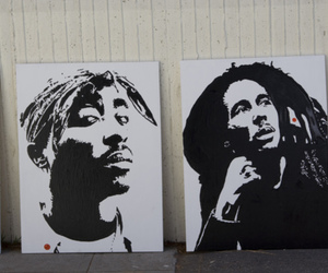 2pac, art, and black n white image