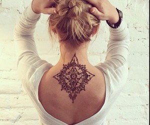 girls, henna, and tattoo image
