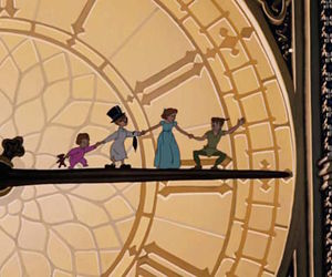 clock, disney, and peter pan image