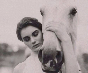 beautiful, black&white, and girl image