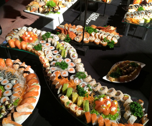 food, food porn, and sushi image