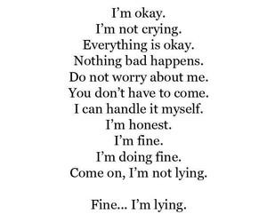 sad, lying, and quotes image