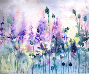 drawing, flowers, and watercolors image