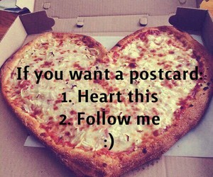 heart, pizza, and postcard image