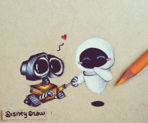 draw, wall-e, and love image