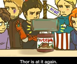 thor, nutella, and Avengers image