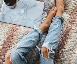 jeans, fashion, and coffee image
