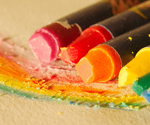 colours, crayon, and rainbow image