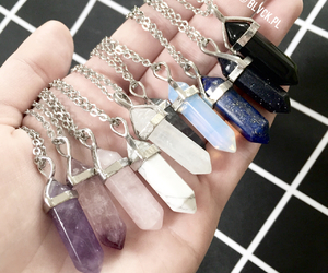 amethyst, crystal necklace, and hipster image