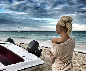 beach, blonde, and beauty image