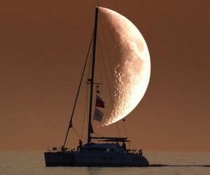 moon, boat, and sea image