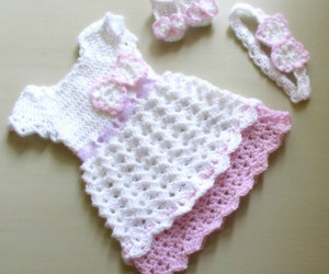 baby, dress, and crochet image
