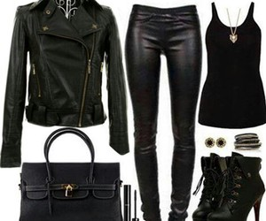 black, outfit, and leather image
