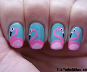 nails, flamingo, and nail art image
