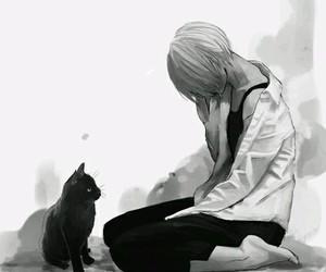 anime, cat, and sad image