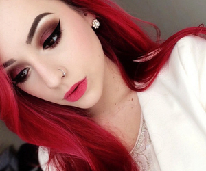 red, hair, and makeup image
