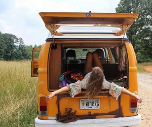 hippies, roadtrip, and volkswagen image